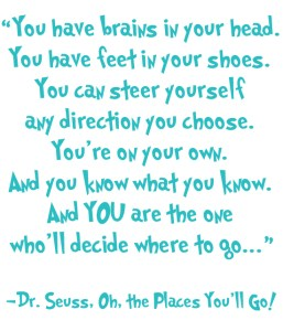 Dr Suess - Oh the Places You'll Go is a Roaming Rowes Favourite.