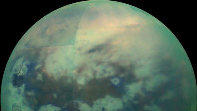Titan's surface from 10000km, infrared, false-color image.