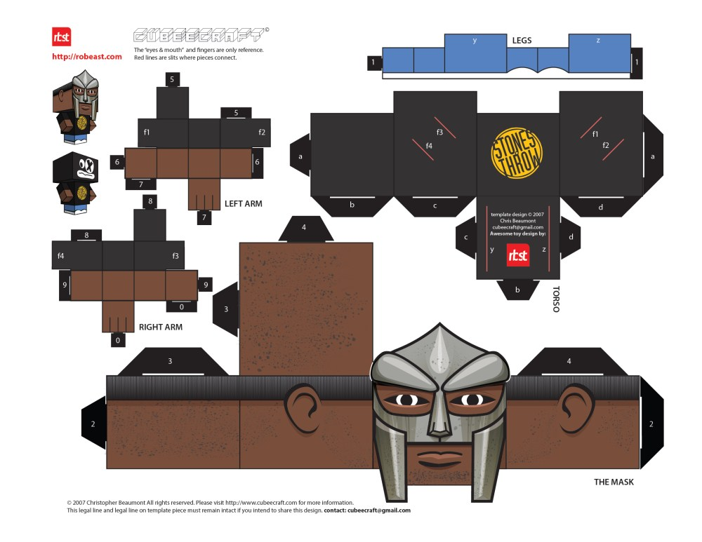 Papercraft: RBST x Cubeecraft MF DOOM (KMD) w/Removable Mask (6/6)
