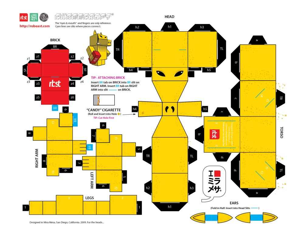 Papercraft: RBST x Cubeecraft Quasimoto (Lord on a Sheet) (3/3)
