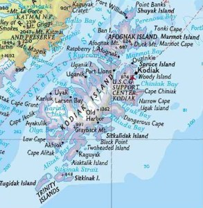 Map of Kodiak Island Archipelago