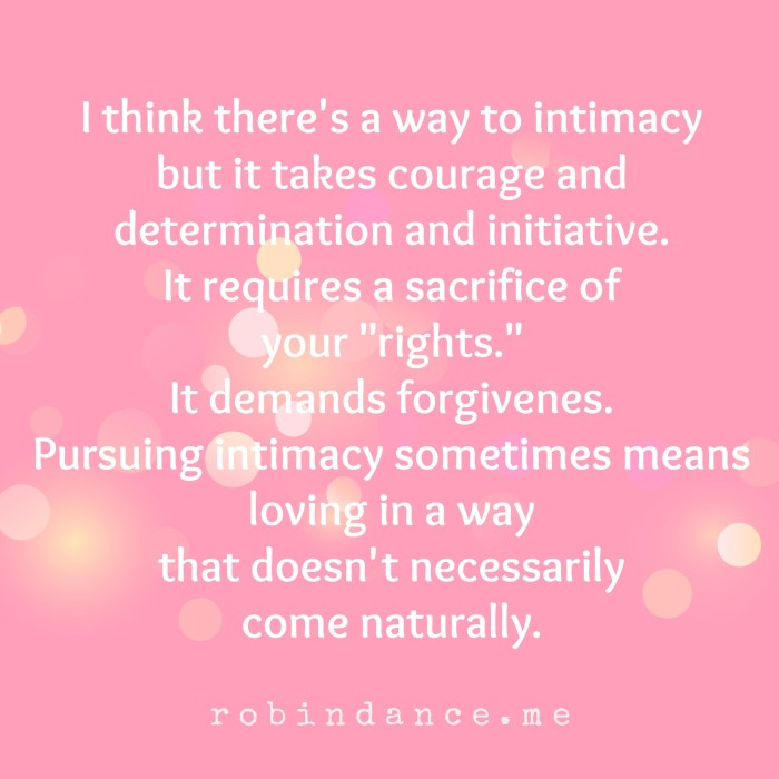 How to pursue intimacy quote - Robin Dance