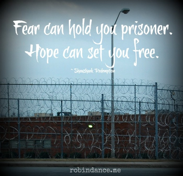 Prison Razor Wire Photo with Shawshank Tagline