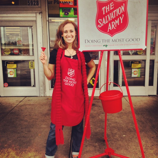 Ringing the Salvation Army red kettle at Christmas