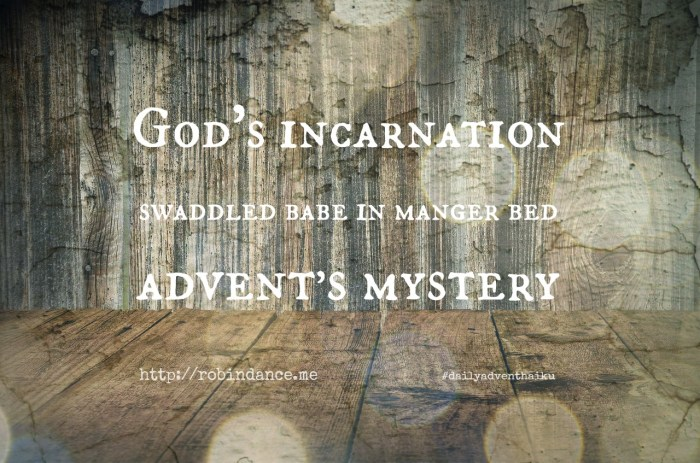 Gods Incarnation - Daily Advent Haiku by Robin Dance #5