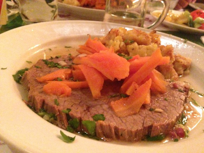 German roast, carrots and potatoes