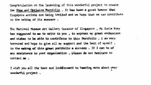 Goh Ee Choo - Letter to The Hope & Optimism Portfolio