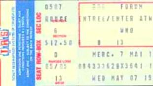 Een ticket voor een later concert van The Who in Forum Montreal