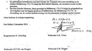 Overeenkomst tussen Rob Scholte Museum en het College van B & W Den Helder