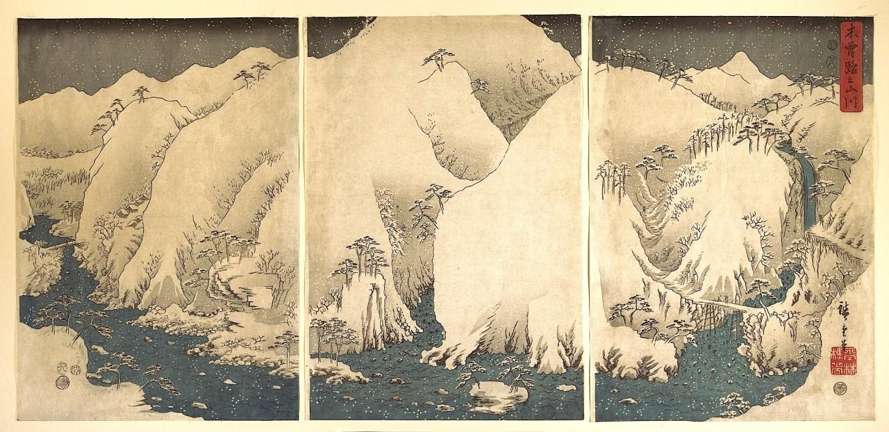 Utagawa Hiroshige –  Kiso Gorge in the Snow