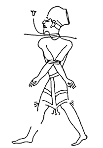 Shasu prisoner as depicted in Ramesses III's reliefs at Madinat Habu (foto Wikipedia)