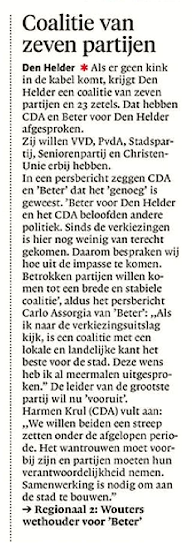 Delano Weltevreden - Coalitie van zeven partijen, Helderse Courant, 12 mei 2018