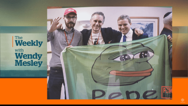 Jordan Peterson met Pepe (Screenshot CBC News 28-1-2018)