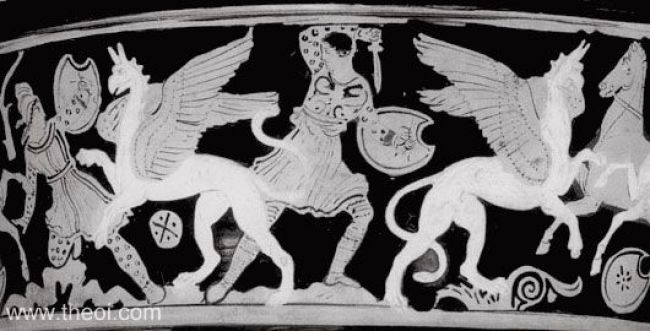 Arimaspians & Griffins Attic red figure vase painting (foto Theoi)