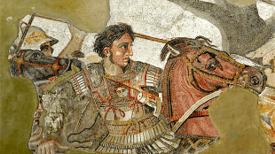 Alexander fighting Persian king Darius III, from Alexander Mosaic of Pompeii, Naples, Naples National Archaeological Museum (foto Wikipedia)