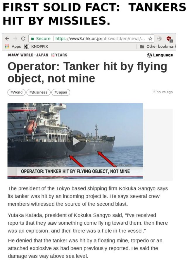 Tanker hit by flying object, not mine, NHK World, June 15 2019