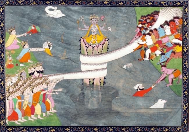 Kurma Avatar of Vishnu, below Mount Mandara, with Vasuki wrapped around it, during Samudra manthan, the churning of the ocean of milk. ca. 1870 (foto Wikipedia)