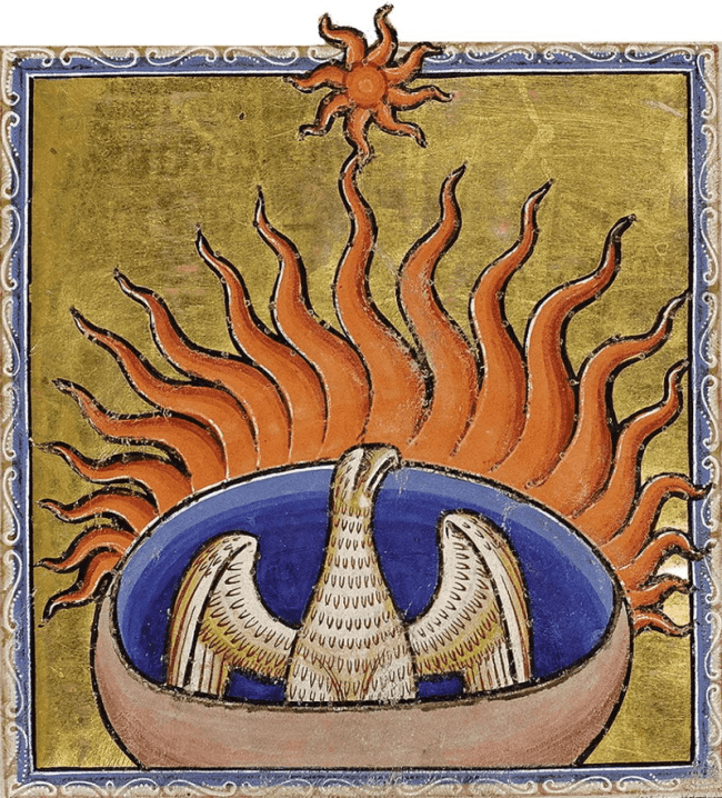 Detail from the 12th-century Aberdeen Bestiary, featuring a phoenix (foto Wikipedia)