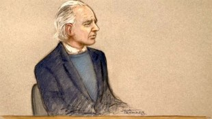 Julia Quenzler - A court sketch of Julian Assange at his extradition hearing at Westminster Magistrates court