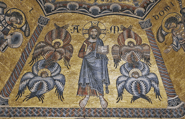 Christ in Paradise surrounded by two Seraphim & two Cherubim, Baptistery, Florence (foto Marie-Lan Nguyen|Wikimedia)