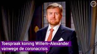 Aankondiging toespraak Koning Willem Alexander vanwege de Corona Virus crisis (foto YouTube)