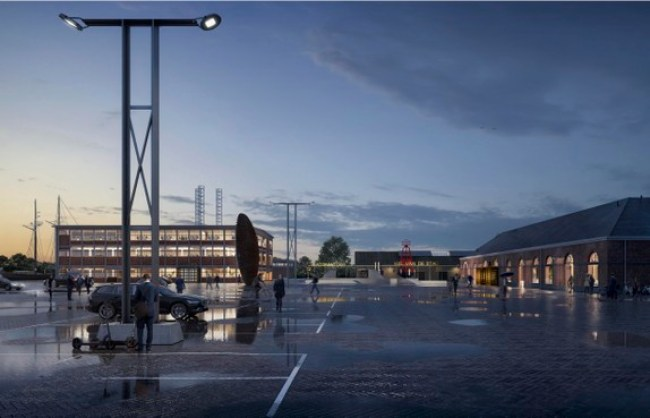 Het schetsontwerp van een stadhuis op Willemsoord, zoals dat vorige week werd gepresenteerd (foto Office Winhov en Van Hoogevest Architecten)