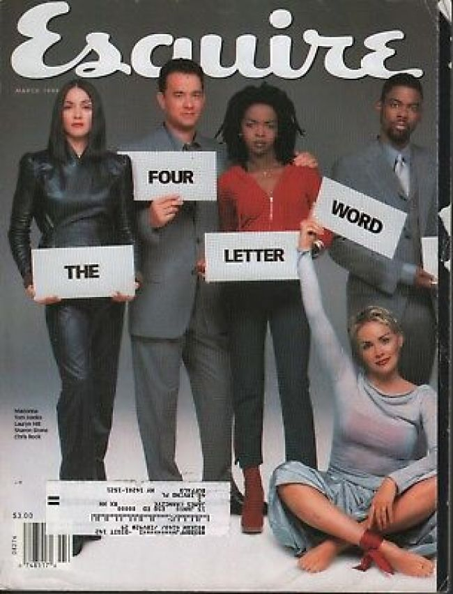 On the cover of Esquire with the four letter word (foto Before It's News)