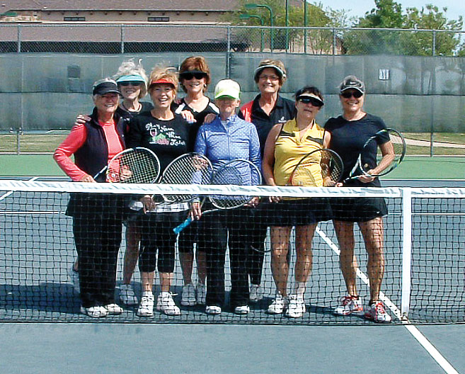 Pictured during a match in April, left to right: Linda Grandfield, Joyce Kain, Captain Catherine Bass, Pat Weber, Co-captain Dee Dale, Elaine Barnett, Marcia Harnly and Patrice Forsyth. Not pictured are team members Elizabeth Tesoriero, Sandy DeVincenzo, Paula Hemingway and Doris Wilson.