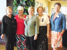 Greeters, left to right: Geraldine Gawle, Valda Bowdoin, Sharon Foy, Bev Clegg and Nancy Lussier