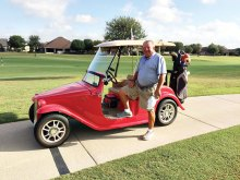 Denny with his California Classic '32 Ford Roadster golf cart