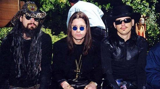Rob Zombie in an early picture with Ozzy Osbourne and Jonathan 'J-Devil' Davis
