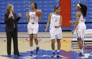 Caelynn Manning-Allen (No. 25) is Alexander's girlfriend and is a freshman on KU's women's basketball team.   Photo Credit: LJ-World