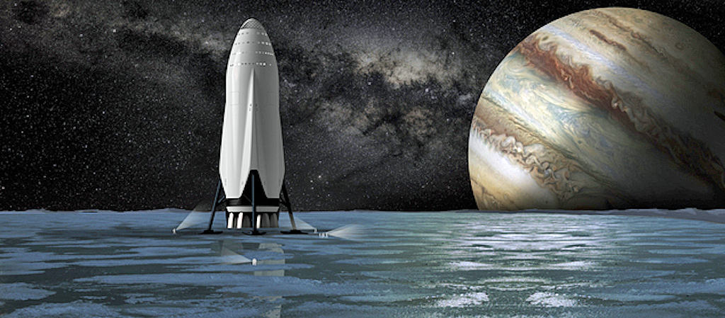 """This artist's rendering provided by SpaceX on Tuesday, Sept 27, 2016 shows the company's proposed Interplanetary Transport System passenger module on the surface a moon orbiting the planet Jupiter. For the past decade, Elon Musk has borrowed from science fiction and fantasy when naming his rockets, engines, capsules and other space doodads. For his first passenger ship, he is leaning toward the name """"Heart of Gold,"""" the starship in the novel """"The Hitchhiker's Guide to the Galaxy."""" (SpaceX via AP)"""