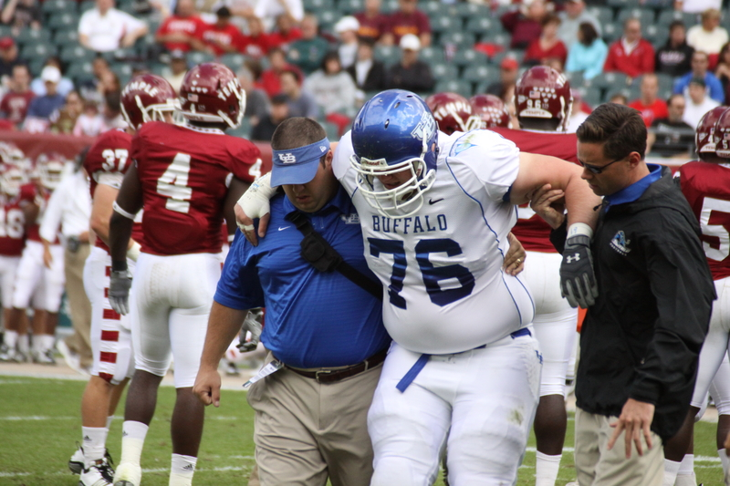 Buffalo Offensive Lineman Matt Bacoulis Gets Hurt in a game against Temple.