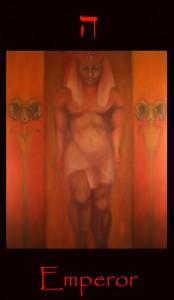 Tarot Emperor major arcana tarot card. A fine art symbolic original oil painting of this image from a tarot divination deck.
