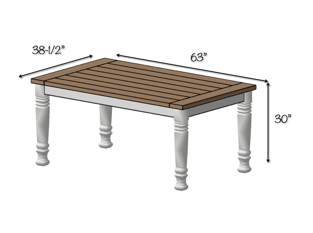 DIY Farmhouse Dining Table Plans - Dimensions
