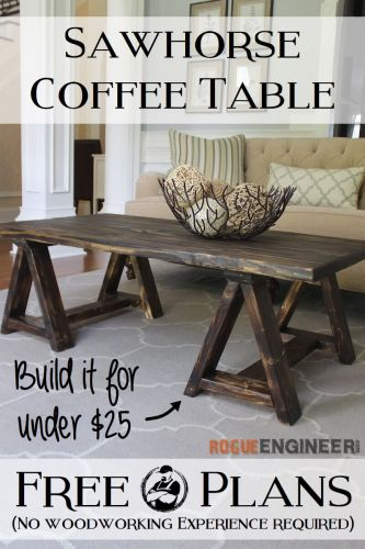 diy sawhorse coffee table plans diy kitchen table plans DIY Sawhorse Coffee Table Plans Rogue Engineer