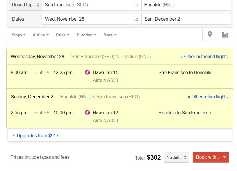 Cheap airfare to hawaii from california this december 2012 sfo hnl sciox Images