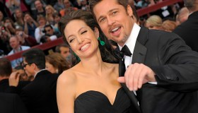 Angelina Jolie and husband Brad Pitt on the red carpet of the 81st Annual Academy Awards on Februar