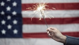 Sparkler in front of American flag
