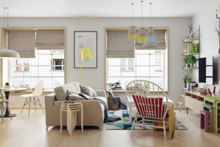 nordic home with colorful accents