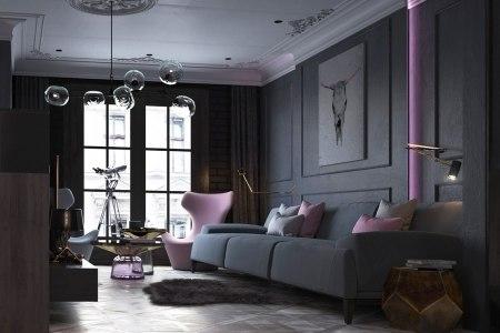 black and lilac interior design logovo design group
