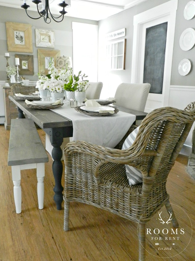 Tuesdays Farmhouse Fancy Plank Top Dining Tables