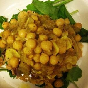 Chickpea Picatta w: Mash Potatoes and Arugula