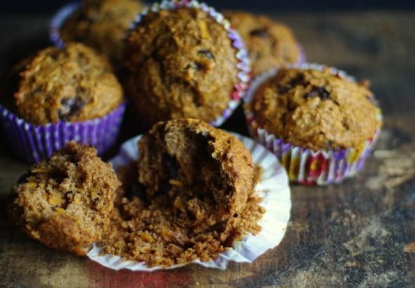 sweet potato banana chocolate muffins