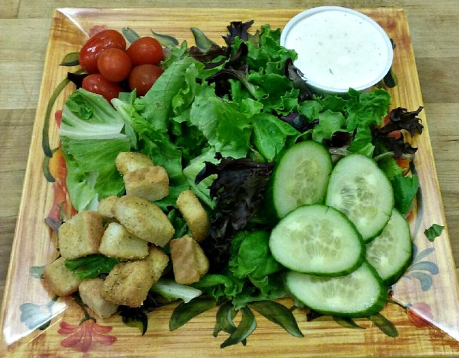 garden salad with buttermilk ranch dressing
