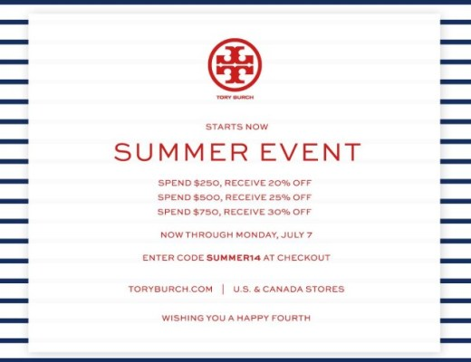 Tory burch coupons canada
