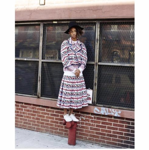 Sad-Jaden-Smith-In-A-Dress-On-Top-Of-A-Fire-Hydrant-PHOTO
