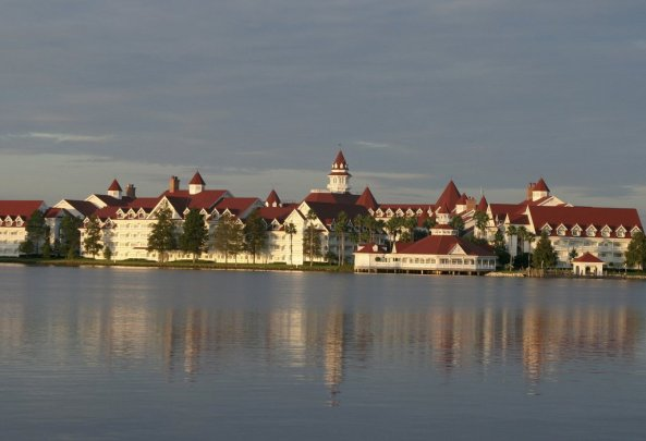 FILE PHOTO - Early morning view of the Grand Floridian Resort and Spa located in the Magic Kingdom at Disney World in Orlando, Florida on September 28, 2003, near where an alligator dragged a small boy into a lagoon. REUTERS/Charles W. Luzier/File Photo
