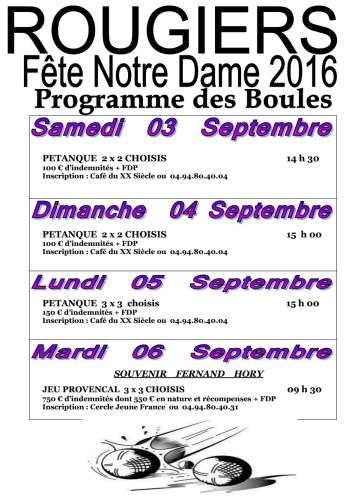 Programme Boules fête Notre Dame 2016